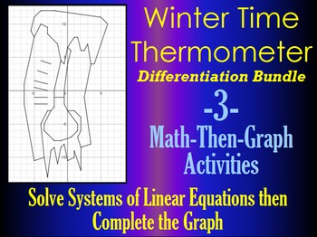 Winter Time Thermometer - Systems & Coordinate Graphing - Differentiation Bundle
