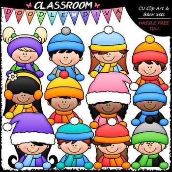 Winter Topper Kids Clip Art - Toppers Clip Art & B&W Set