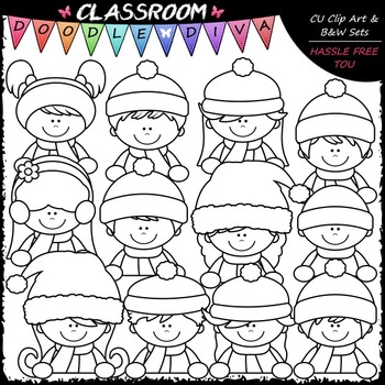 Winter Topper Kids Clip Art - Toppers Clip Art & B&W Set