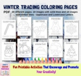 Winter Tracing Coloring Pages - Set of 20