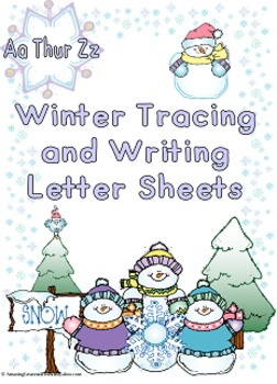 Winter Tracing and Writing Letter Sheets
