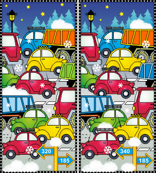 Winter Traffic Find the Differences Picture Puzzle, Commercial Use Allowed