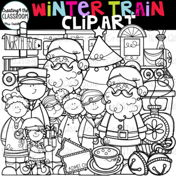 Winter Train Clip Art {Winter Clip Art}