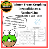 Winter Treats: Graphing Inequalities on a Number Line: A Maze and Word Jumble!
