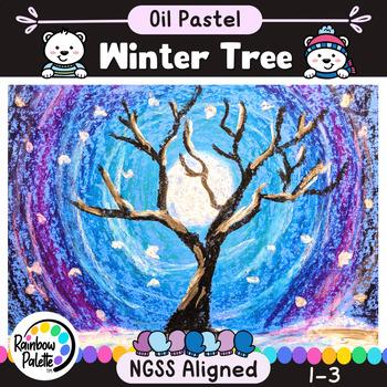 Winter Tree Easy Art Project Oil Pastel Powerpoint