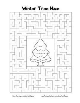 """""""Winter Tree"""" Maze! Winter FUN! (Color and Black Line)"""