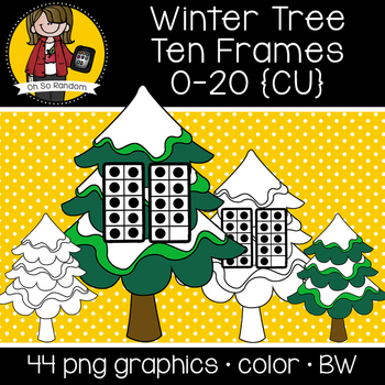 Winter Tree Ten Frames {Graphics for Commercial Use}