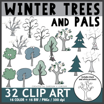 Winter Trees Clip Art + Coloring Pages
