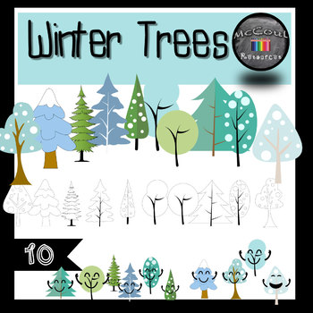Winter Trees Clipart Set