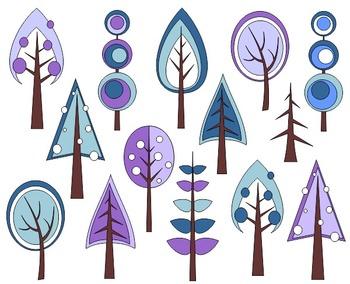 Winter Trees Digital Clip Art