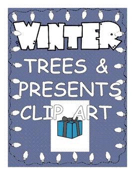 Winter Trees & Presents Clip Art