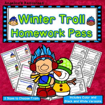 Winter Troll Homework Pass - Incentive Reward Coupon