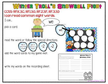 Winter Troll's Snowball Fight ALL Dolch Sight Words Center Winter