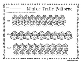 Winter Trolls Basic Patterns Coloring Practice
