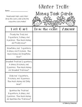 Winter Trolls Money Task Card Riddles
