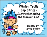 Winter Trolls Number Line Subtraction Clip Cards