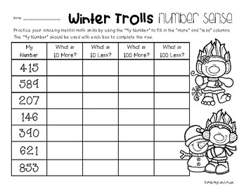 Winter Trolls Number Sense: 10 More, 10 Less, 100 More, 100 Less