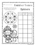 Winter Trolls Number Sense: 10 More, 10 Less, 100 More, 100 Less Spinners