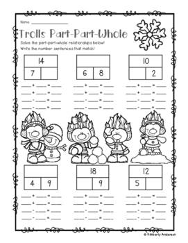 Winter Trolls Part-Part-Whole Addition/Subtraction Fact Families