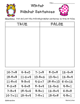 Winter True or False Addition and Subtraction Sorting Activities--3 sheets