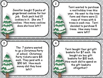 Winter Two Step Word Problems with Boom Task Cards