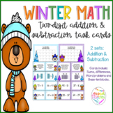 Winter Two-digit Addition and Subtraction Task Cards
