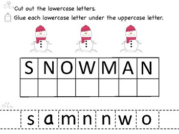 Winter Uppercase and Lowercase Letter Match