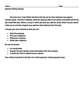 Winter Vacation Opinion Writing with Sources and Rubric
