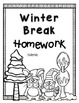 Winter Vacation - Winter Break 10 Day Homework Packet and reading log