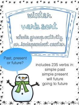 Winter Grammar Center: Tenses Verb Sort