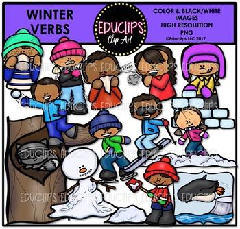 Winter Verbs Clip Art Bundle {Educlips Clipart}