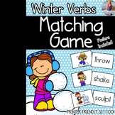 Winter Verbs Matching Game & Poster