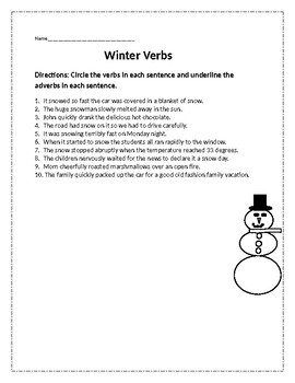 Winter Verbs and Adverbs