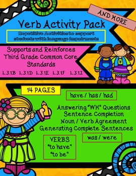 """Winter Verbs & """"wh"""" quest.  have/has/had. .was/were 3rd Grade Language Standard"""