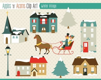 Winter Village Clip Art - color and outlines