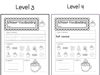 Winter Vocab Worksheets: Special Ed or Early Elementary No Prep Printable Pack