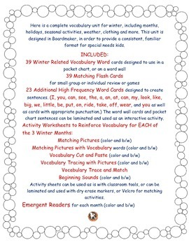 Winter Vocabulary Unit: Word Wall Cards, Emergent Readers,Worksheets(Boardmaker)