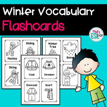 ESL Winter Vocabulary Cards -  Task Cards