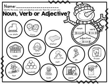 Winter Vocabulary And Grammar Activities (Nouns, Verbs and Adjectives)