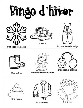 Winter Vocabulary BINGO in French