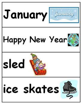 Winter Vocabulary Cards - December, January, February