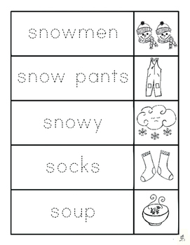 Winter Writing Center: Winter Vocabulary Flip Books