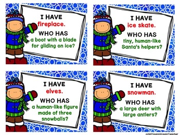 Winter Vocabulary Game:  I Have . . Who has . .
