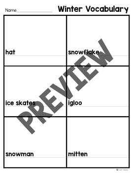 Winter Vocabulary Match and Write