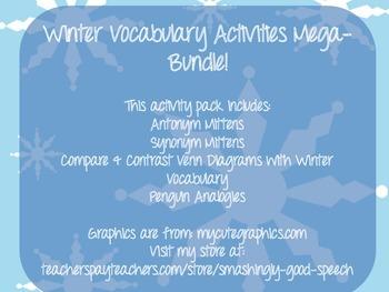 Winter Vocabulary Mega-Bundle! Four Activity Packs Included!