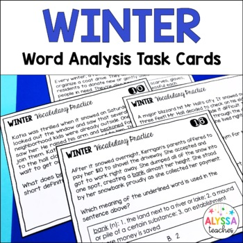 Winter Vocabulary Skills Task Cards