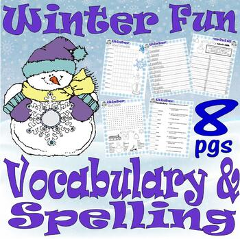 Winter Vocabulary & Spelling Activities : LINED PAPER :  7pg Packet
