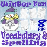 Winter Vocabulary & Spelling Activities : LINED PAPER :  7pg Worksheet Packet