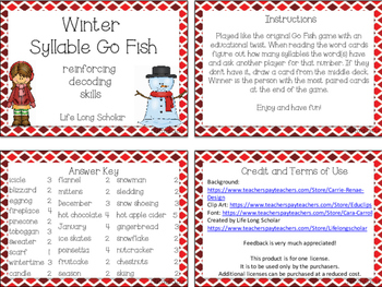 Winter Vocabulary Syllable Go Fish Game