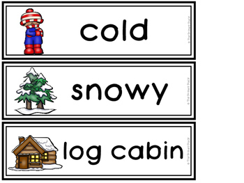 Winter Vocabulary Word Wall Cards